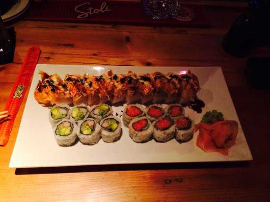 Bamboo: Dragon roll, spicy tuna and California roll.