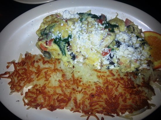 Bisbee Breakfast Club : Hash browns and feta and spinach eggs
