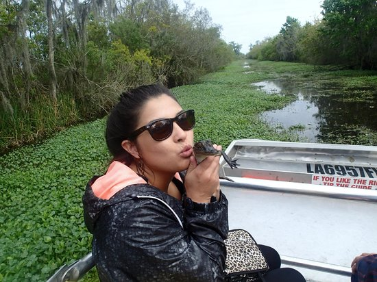Airboat Adventures : my niece kissing Amy