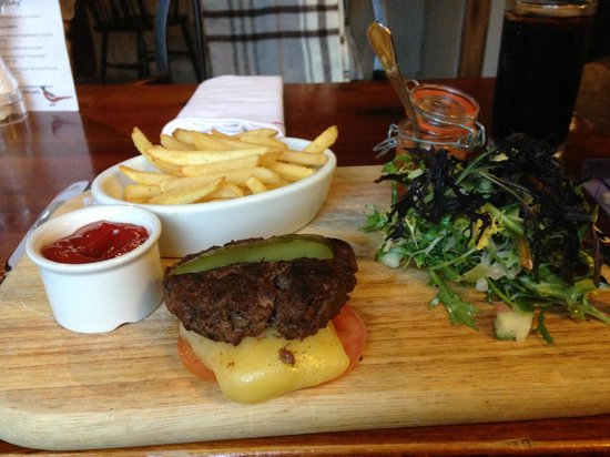 The Inn at Cranborne: burger and chips with salad minus the bun