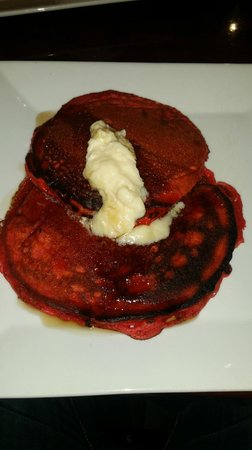 The Living Room on Main: Red Velvet Pancakes with cream cheese whipped butter
