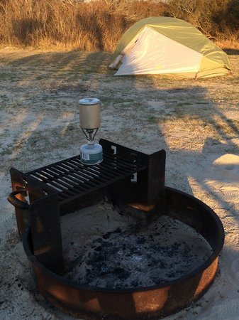 Assateague Island National Seashore: Fire Ring with Grill (and my own Pocket Rocket stove)