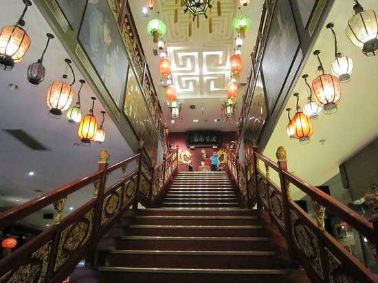 Lao She Teahouse: Grand staircase leading up to shops and historical artifacts to display