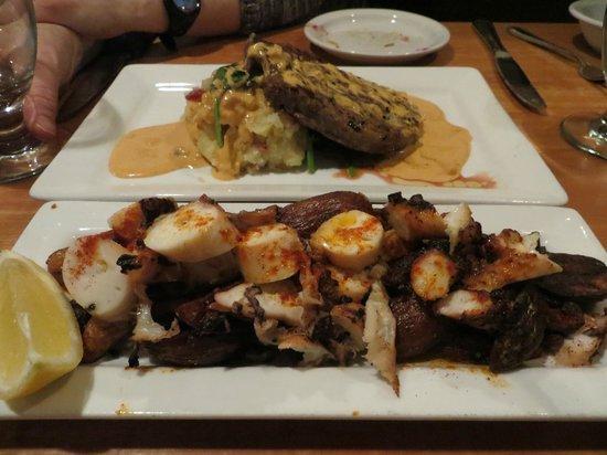 La Boca: Octopus with fingerling potatoes, Ribeye with mashed potatoes.