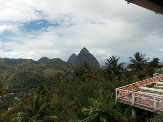 Delice Restaurant and Bar at La Haut Plantation: Scenic view of The Iconic Pitons from the Delice Restaurant