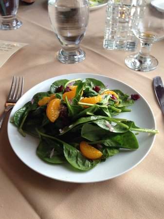 spinach salad with mandarines, dried cranberries & maple dressing