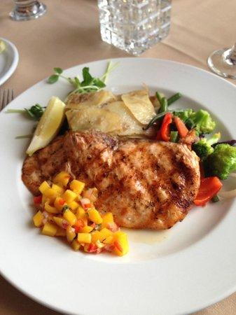 Thyme On 21 Casual Dining: Atlantic salmon, Galett potatoes and veggies
