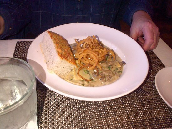 Med Grill: Beef pasta with thin deep bried onion rings - yum!