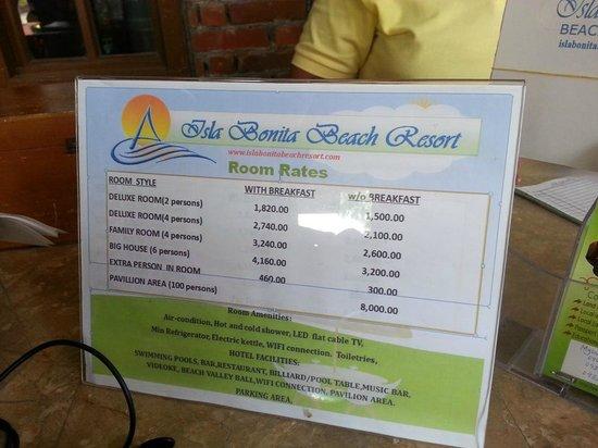 Isla Bonita Beach Resort Actual Room Rates