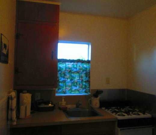Shoreline Cottages: Fully equipped kitchen with all dishes,full size fridge,snacks & coffee/tea