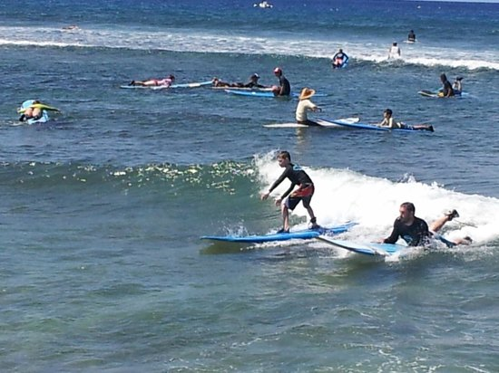 Goofy Foot Surf School, Inc : Our son's first attempt at surfing.
