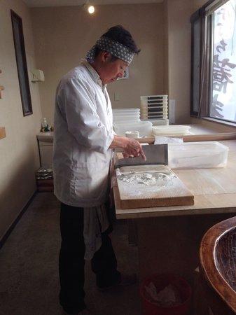 Handmade Soba Katsura: Hideo Kobayashi making soba noodles.