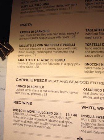 Bencotto Italian Kitchen: Menu