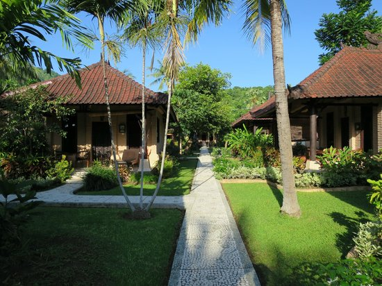Hidden Paradise Cottages: View along one of the pathways to the rooms