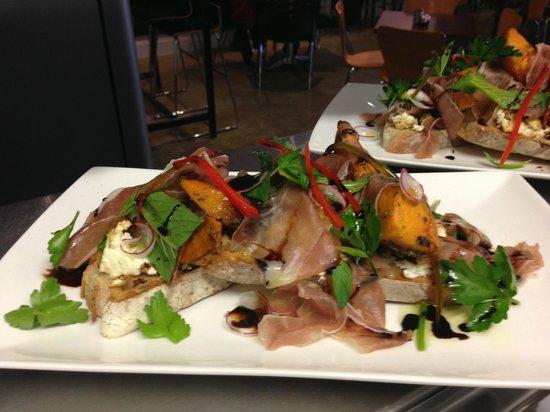 Artezen Cafe: Bruschetta of baked ricotta, roast pumpkin, proscuitto, delicate herbs & balsamic glaze