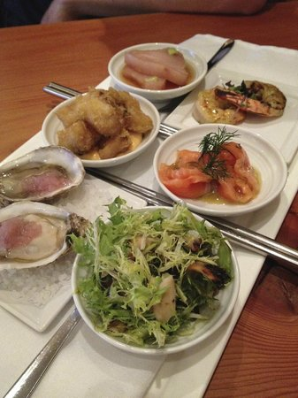 Norwoods Restaurant: Appertizer to share starring fresh oysters, prawns, sashimi, octopus salad and cod