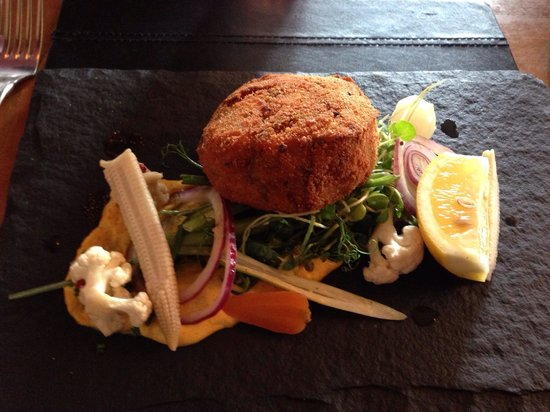 The Lion At Farnsfield Fish Cake Starter Served On A Slate With Well Flavoured Accompaniments