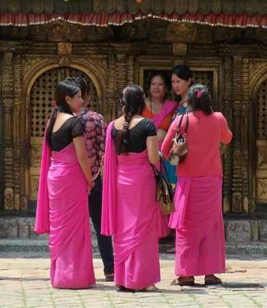 Changu Narayan: Local ladies outside Changu Naryan Temple