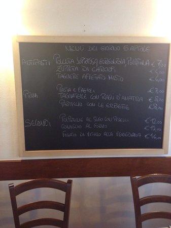 Osteria Al Turbine: Il menù.