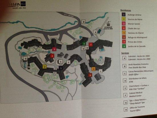 Les Arcs, فرنسا: Схема деревни