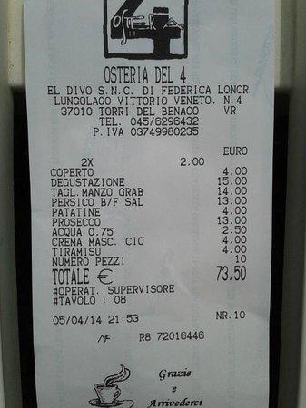 Osteria del 4: Il conto per due persone