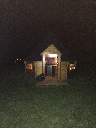 BBQ hut at night