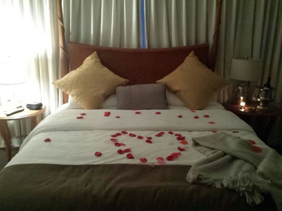 The Mansion at Noble Lane: specialty turn down service,  rose petals, chocolates, candles, and signature wine