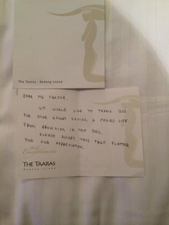 The Taaras Beach & Spa Resort: Thank you note