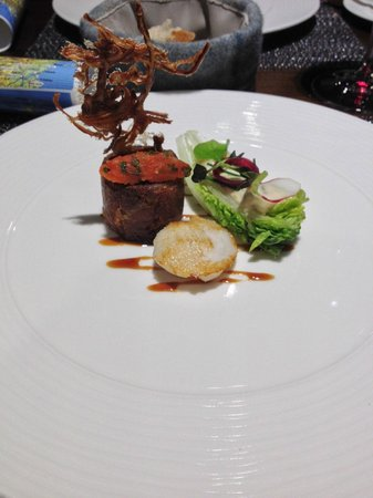 """The Kitchin: """"Pig's Head & Cod"""" Boned and rolled pig's head served with seared cod cheek"""