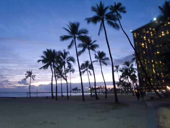 Hilton Grand Vacations at Hilton Hawaiian Village : 夕方のビーチ