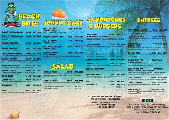 Food Menu Picture Of Lazy Lizard Beach Bar Amp Grill Philipsburg Tripadvisor