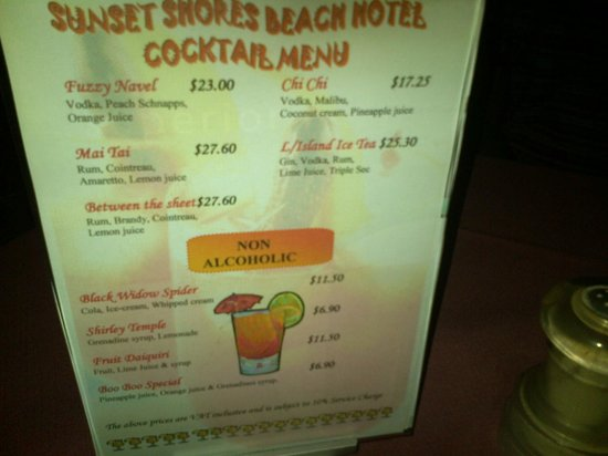 Sunset Shores Beach Hotel: Drinks list