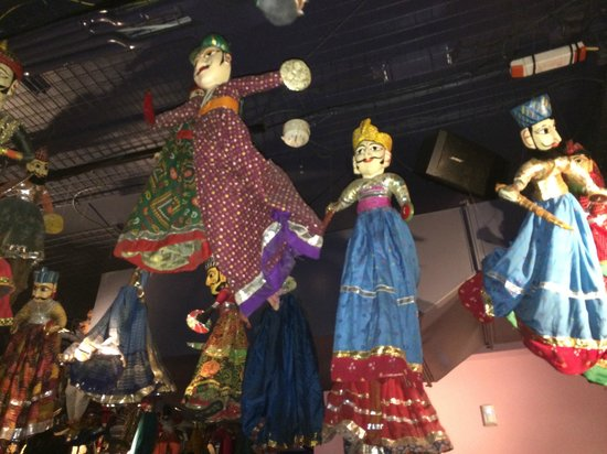 Masala Zone Covent Garden: Decorative puppets on the ceiling