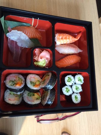 Goto Japanese Restaurant: Sushi bento for lunch. Different every time.