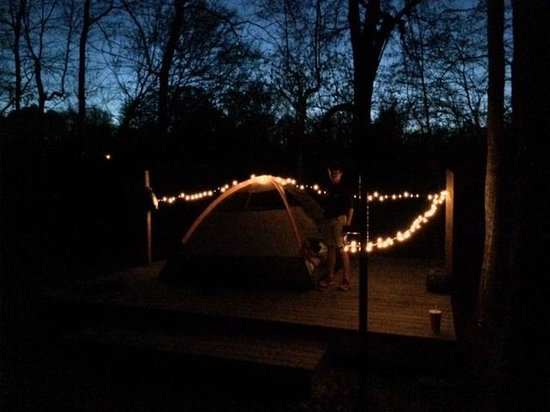 chattahoochee bend state park west platform campsite 3 with battery powered christmas lights