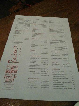 Reuben's: Wine List