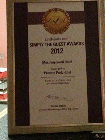 Preston Park Hotel: Reception area - Most Improved Hotel award 2012