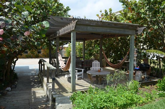Beach Place Guesthouses : Outdoor dining/relaxing common area