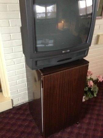Clark, Πενσυλβάνια: TV and Fridge in the sitting room of the suite