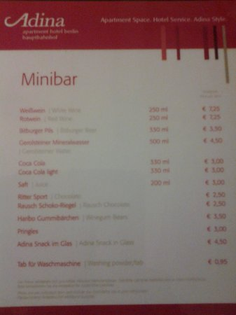 Adina Apartment Hotel Berlin Mitte: mini bar price list