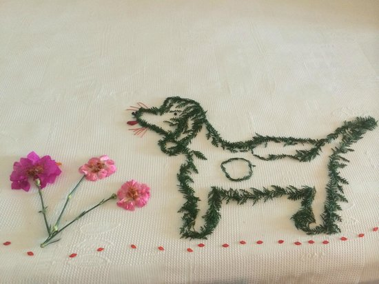 La Casa Que Canta : Our maid did a flower design of our dog from a photo we showed her