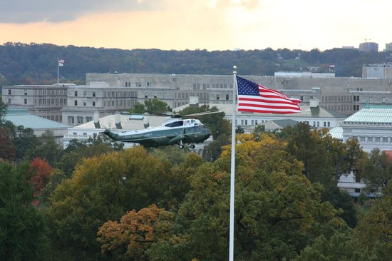 W Washington D.C. : So cool to watch Marine One land - I am sure the President was on board!
