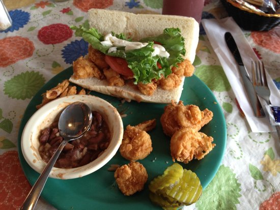Boss Oyster: Shrimp po' boy with red beans and rice