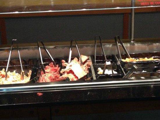 HuHot Mongolian Grill: Yucky frozen meat bar.