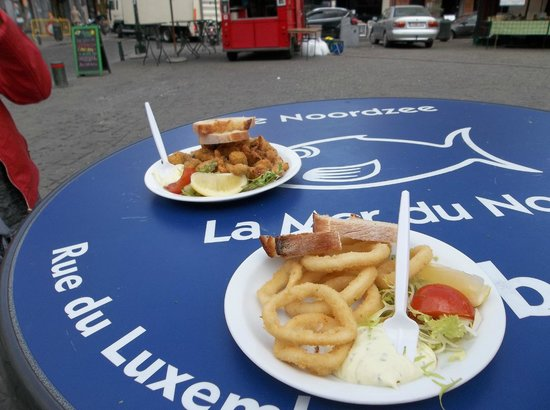 Noordzee Mer du Nord : frittura di calamari e cozze