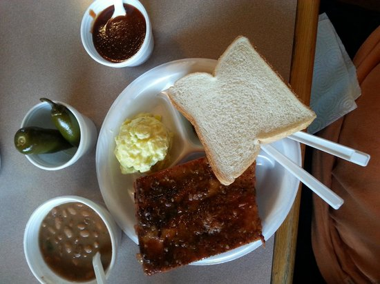 R & R's BBQ Shack: Rib platter with 2 sides and Popper