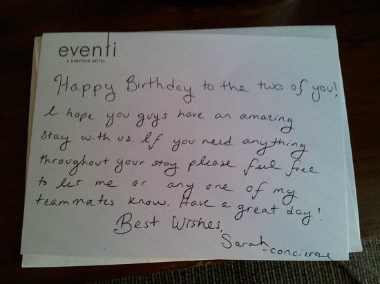 Hotel Eventi - a Kimpton Hotel: Birthday wishes from Sarah, staff at Eventi