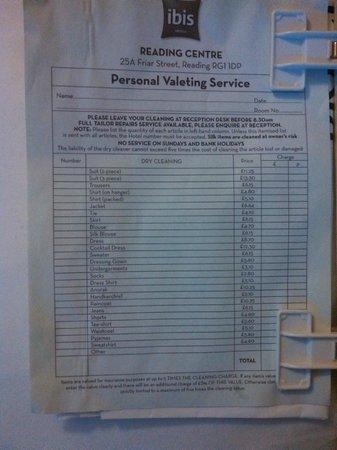 Ibis Reading Centre: Preço Laundry