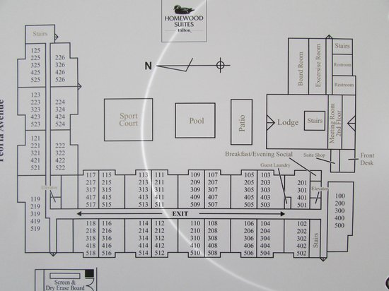 Homewood Suites by Hilton Phoenix-Metro Center: hotel floor plan/freeway runs along bottom