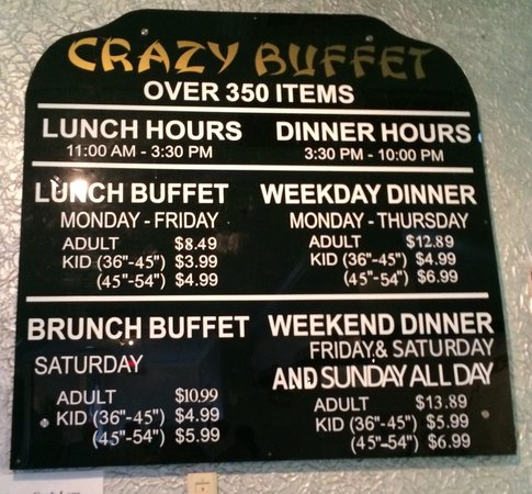 pricing hours picture of crazy buffet orlando tripadvisor rh tripadvisor com crazy buffet galesburg il hours Crazy Buffet Menu